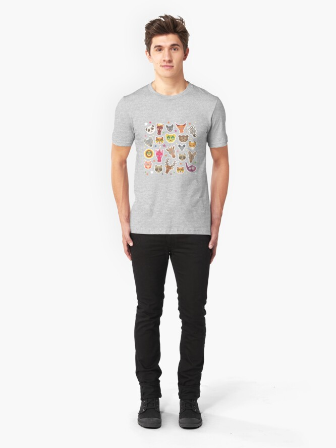 Alternate view of funny animals muzzle Slim Fit T-Shirt