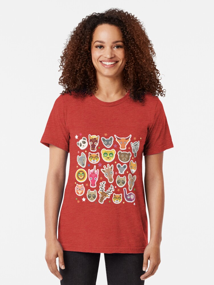 Alternate view of funny animals muzzle Tri-blend T-Shirt