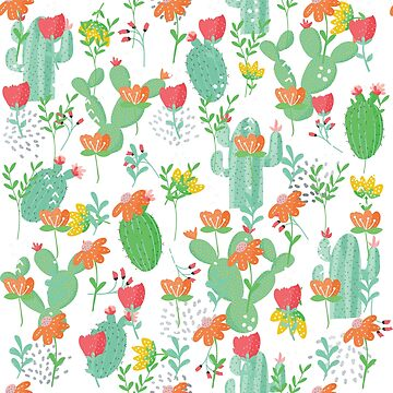 Cactus and flowers pattern by artonwear