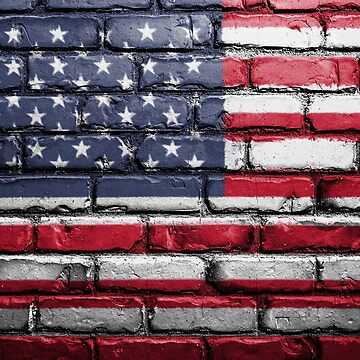 American Flag Painted Brick by Eventures1