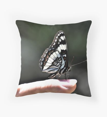 Butterfly On Jay's Finger Throw Pillow