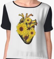 Summer Sunflower Heart  Chiffon Top