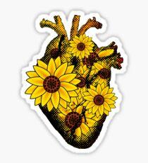 Summer Sunflower Heart  Sticker