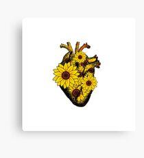 Summer Sunflower Heart  Canvas Print