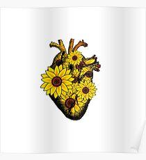 Summer Sunflower Heart  Poster
