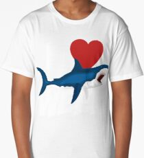 I Love The Week Of Sharks Cute Novelty Gift Idea For Shark Lovers Graphic Shark Attack Long T-Shirt