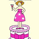 68th Birthday humor for her, lady on giant cake. by KateTaylor