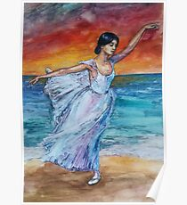 Seascape with Ballerina Poster