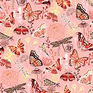 Dragonflies, Butterflies, Moths and Floral Design on Coral by TigaTiga