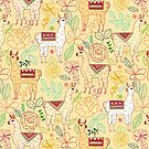 Mexican Llamas on Light Mustard  by TigaTiga