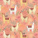Mexican Llamas on Coral  by TigaTiga