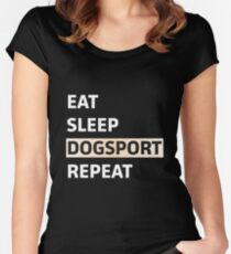 sleep dogsport repeat Women's Fitted Scoop T-Shirt