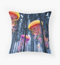 New Winter Forest of Electric Jellyfish Worlds  Throw Pillow