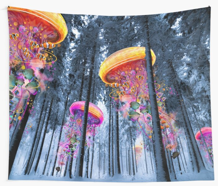 New Winter Forest of Electric Jellyfish Worlds  by David Loblaw