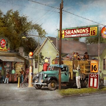 Gas Station - Shannon's super gasolines 1939 by mikesavad