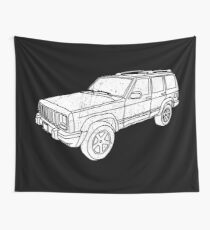 Jeep Cherokee - White Wall Tapestry