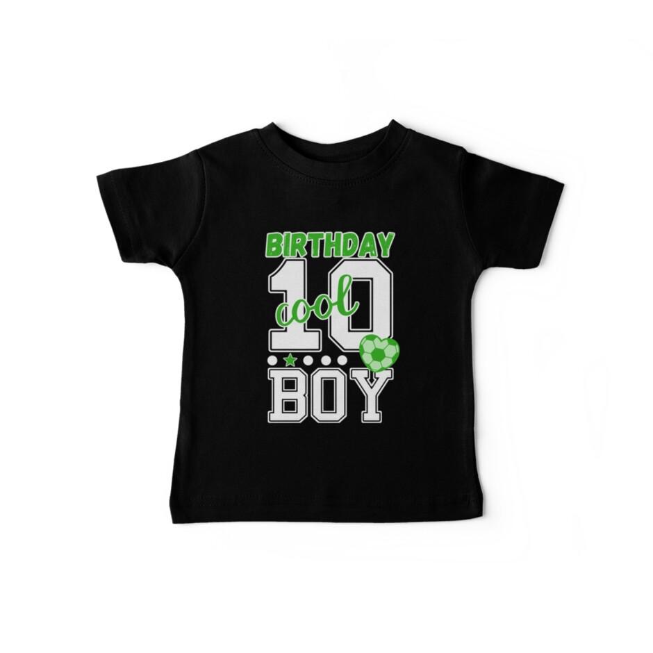 10th Birthday Boy 10 Boys Cool Green Soccer Player Heart