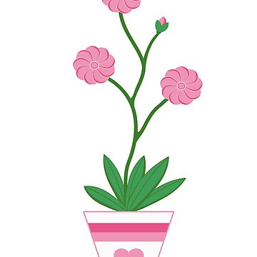 Pink flower in a pot with a heart by MarlowLoom