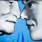 Graffiti showing Maori greeting by rubbibg noses ( Hongi) by yurix