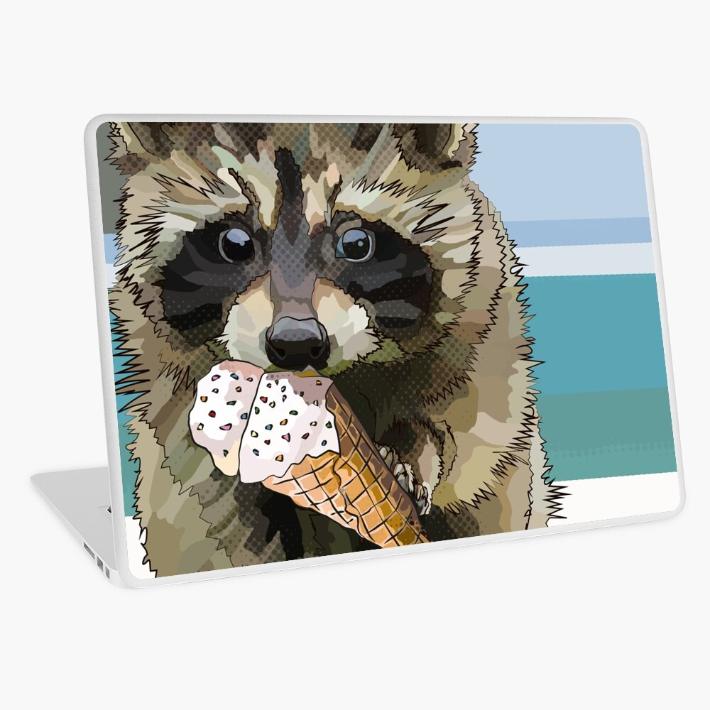 Raccoon Eating Ice Cream - Staying Cool this Summer Time * Raccoon Beach  Vacation | Laptop Skin