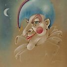 PUNCHINELLO JESTER COLORED PENCIL DRAWING by PopArtdiva
