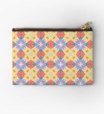 romantic green leaves summer yellow flowers seamless colorful repeat pattern Studio Pouch
