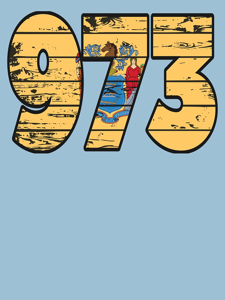 LOVE THAT  973 LIFE - YOUR FAVORITE AREA CODE WITH A HEAVY WOOD OVERLAY DISTRESS by NotYourDesign
