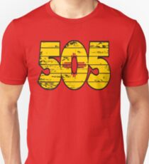 LOVE THAT  505 LIFE - YOUR FAVORITE AREA CODE WITH A HEAVY WOOD OVERLAY DISTRESS Unisex T-Shirt
