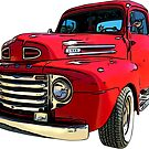 Red Truck from the 1940's by RetroArtFactory