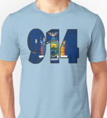 LOVE THAT  914 LIFE - YOUR FAVORITE AREA CODE WITH A HEAVY WOOD OVERLAY DISTRESS Unisex T-Shirt
