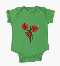 Three red flowers One Piece - Short Sleeve