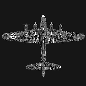 B-17 Flying Fortress Typography Art by RealPilotDesign