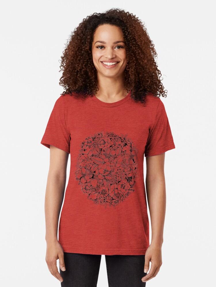 Alternate view of Floral Flower circle  Tri-blend T-Shirt