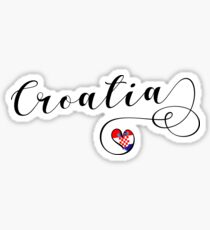 Croatia Heart, Croatia Flag, I Love Croatia Sticker