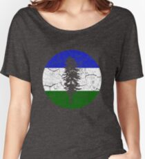Cascadia Pacific Northwest Bioregion Independence Flag Circle Distressed Relaxed Fit T-Shirt