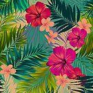 «Sunset beach - patrón tropical de verano caliente» de Elena Belokrinitski