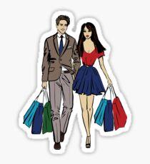 couple shopping Sticker