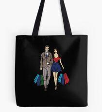couple shopping Tote Bag