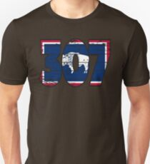 LOVE THAT  307 LIFE - YOUR FAVORITE AREA CODE WITH A HEAVY WOOD OVERLAY DISTRESS Unisex T-Shirt