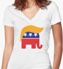 Donald Trump Hair GOP Elephant Logo ©TrumpCentral.org Women's Fitted V-Neck T-Shirt