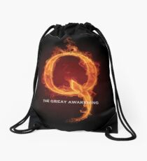 The Great Awakening Qanon Fire Letter Q Anon WWG1wga wwgowga The storm is here prints Drawstring Bag