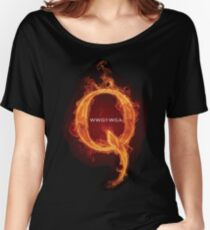 WWG1WGA Where we go one, we go all  Qanon Fire Letter Q Anon wwgowga The Great Awakening prints Women's Relaxed Fit T-Shirt