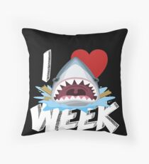 I Love The Week Of Sharks Funny Novelty Gift Idea For Shark Lovers Graphic Shark Bite Throw Pillow