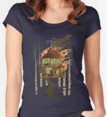 Haus in Flammen Tailliertes Rundhals-Shirt