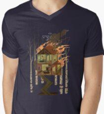 Camiseta para hombre de cuello en v Casa en llamas
