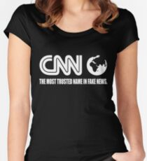 CNN Fake News Network Funny Tabloid Lying Corrupt Liberal Media Trump Women's Fitted Scoop T-Shirt