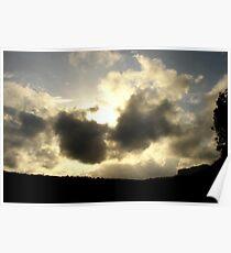 Sun Burst over hill top! Poster