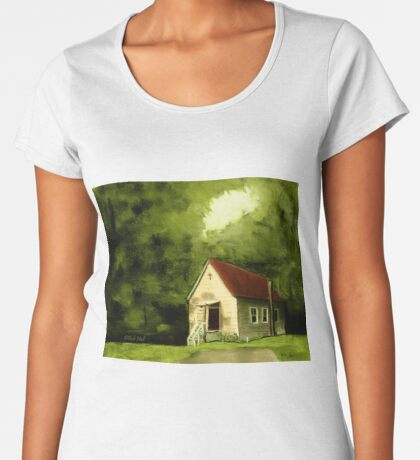 COUNTRY CHURCH, Pastel Painting, for prints and products Women's Premium T-Shirt