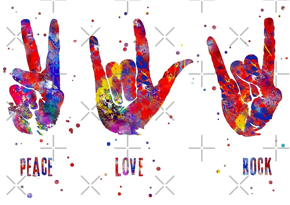 ASL sign language, peace sign, love sign, rock sign, peace love rock by Rosaliartbook