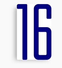 Tall blue number 16 Canvas Print